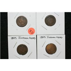 1895 Indian Head Penny, lot of 4