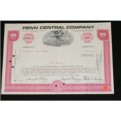 Penn Central Company Stock Certificate dated 1970