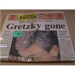 "1 Copy Of ""The Edmonton Journal"" Announcing Gretzky Trade"