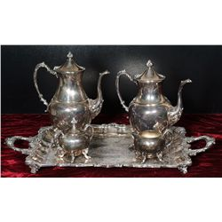 Vintage Silver On Copper Serving Set