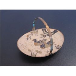 Brass  Handled Plate With Ceramic Duck Painting On It