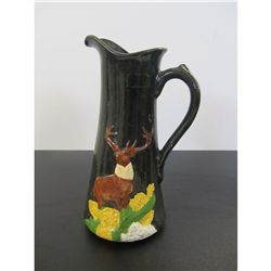 "12 "" Pottery Pitcher With a Deer On It."