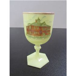 Vintage Unmarked Fenton Chalice with the New High School in Benton Wis.