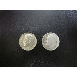 Pair Of Eisenhower Silver Dimes - 1964, and a 1947 Ungraded