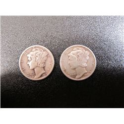 Pair Of Liberty (Mercury) Dimes - 1939, and 1942 Ungraded