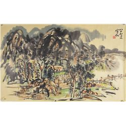 Chinese Watercolour Signed Huang Bin Hong