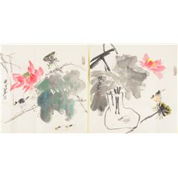Pair Chinese Watercolour Painting