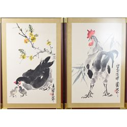 Pair of Framed Chinese Watercolour Paintings