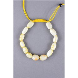 Chinese White Jade Pebble Bracelet