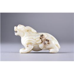 Chinese Carved White Jade Figure of Lion