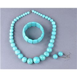 Chinese Turquoise Necklace, Earrings, Bracelet