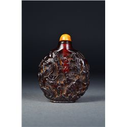Chinese Carved Amber Snuff Bottle