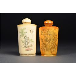 Set of 2 Ox Bone Carved Snuff Bottles