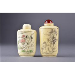 Set of Two Ivory Snuff Bottles Amorous Couple