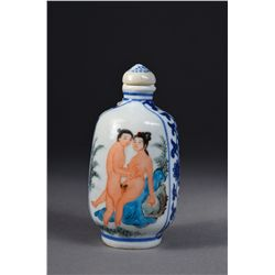 Chinese Porcelain Snuff Bottle Amorous Couple Mk