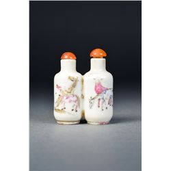 Chinese Famille Rose Double Snuff Bottle Marked