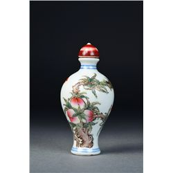 Chinese Porcelain Snuff Bottle Peach & Bats Mark