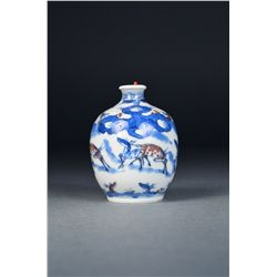 Chinese Blue & White Snuff Bottle Yongzheng