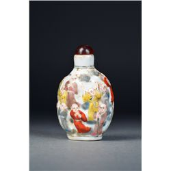 Chinese Porcelain Snuff Bottle 100 Children Motif