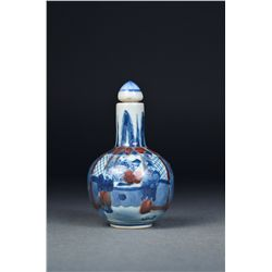 Chinese Blue & White Snuff Bottle Qianlong