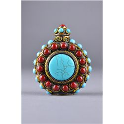 Chinese Tibetan Silver Snuff Bottle Turquoise