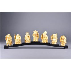 Set 7 Japanese Bone Carved Netsuke Figures Stand