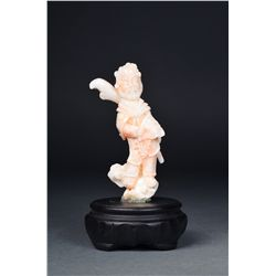 Chinese Carved White Coral General Guan Gong
