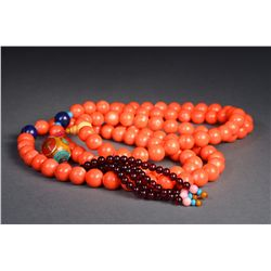 Chinese Carved Coral Necklace