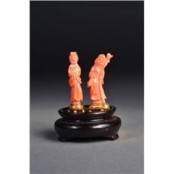 Finely Carved Coral Figures of Old Man & Beauty