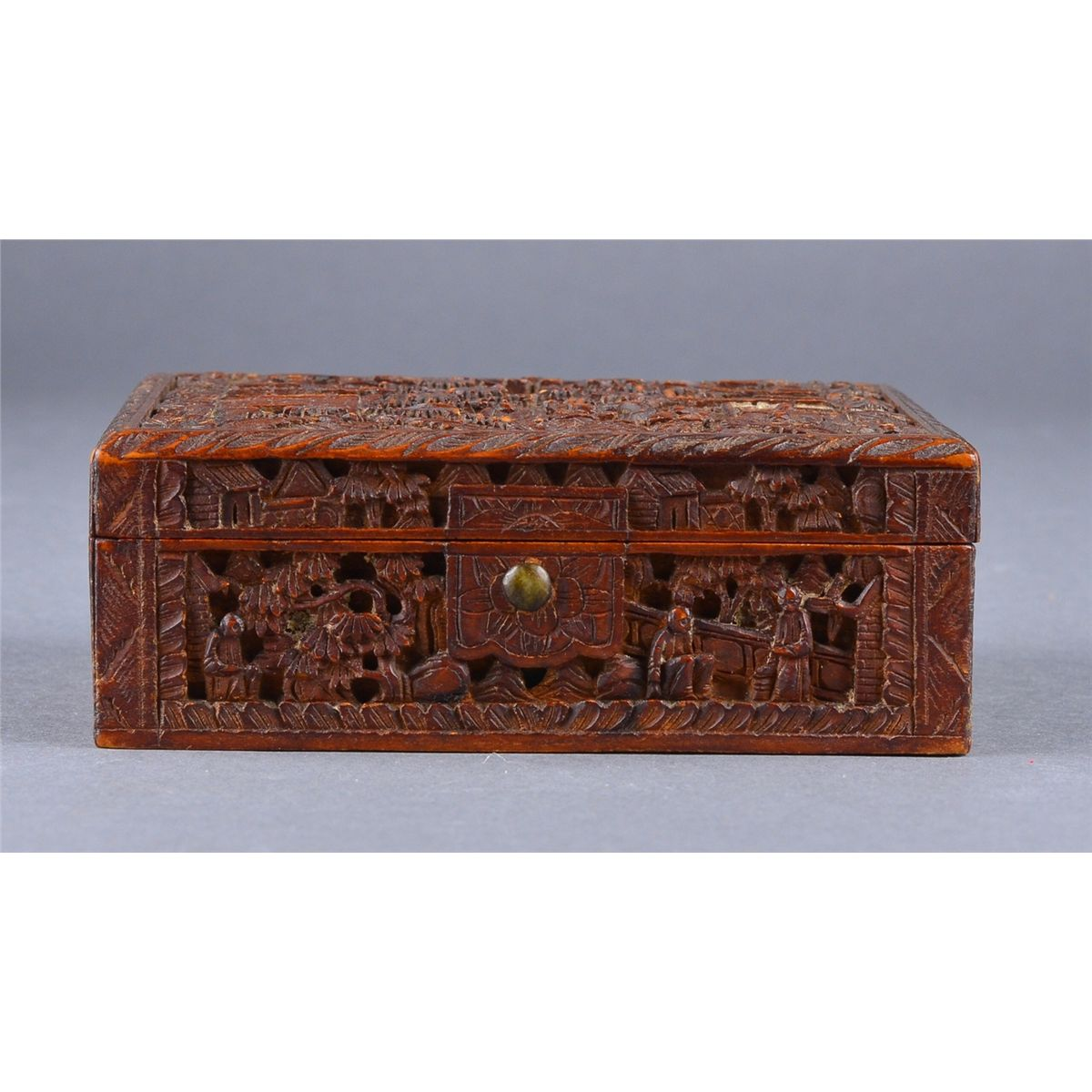Chinese Wood Carved Jewelry Box