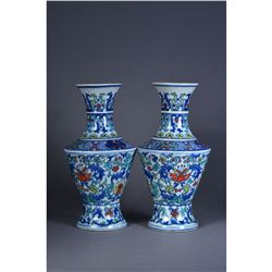 Fine Pair Chinese Doucai Vases Chenghua Marked