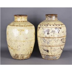 Pair of Large Cizhou Jars Incised Mark