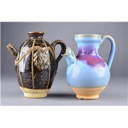 Set of 2: Black Glazed Ewer and Blue Flambe Ewer