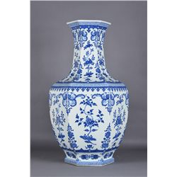 Magnificent Qing Period Hexagonal Vase Qianlong