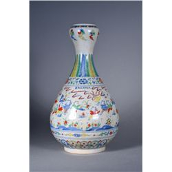 19th C. Chinese Doucai Garlic Bulb Vase Xuande