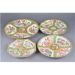 4 Piece Chinese Canton Famille Rose Export Saucers