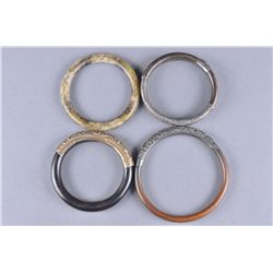 Set of Four Chinese Bangles wood silver jade