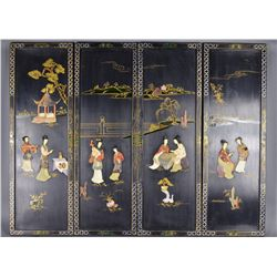 4 Chinese Screens Bone, Hardstone, Soapstone