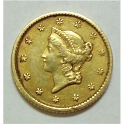 1854 T1 $1 gold  XF