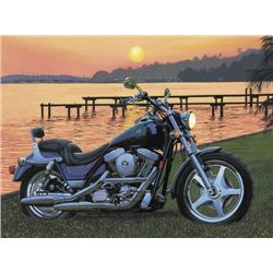 PJ'S VIEW Scott Jacobs Harley Motorcycle Art Small