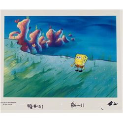 Orig SpongeBob Production Cel & Background -Cliffs Edge