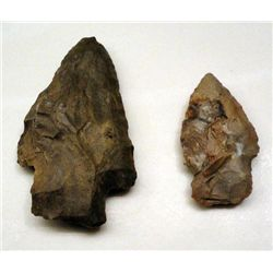 2 Indian Arrowheads Adena Hamilton/Pickwick, Kirk-Type