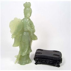 CARVED JADE WOMAN FIGURINE W/ STAND