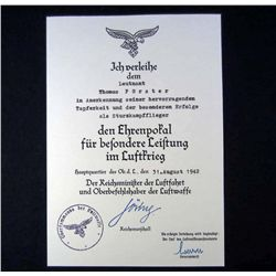 GERMAN NAZI LUFTWAFFE LONG SERVICE MEDAL AWARD DOCUMENT