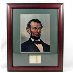 ABRAHAM LINCOLN CUT SIGNATURE W/ PICTURE - FRAMED W/ COA