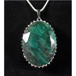 69216 - STERLING SILVER EMERALD AND SAPPHIRE PENDANT W/ CHAIN