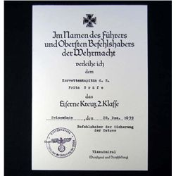 GERMAN NAZI 2ND CLASS IRON CROSS AWARD DOCUMENT