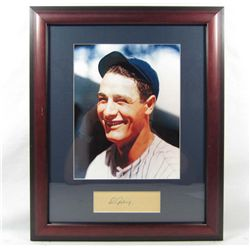 LOU GEHRIG CUT SIGNATURE W/ PHOTO - FRAMED W/ COA