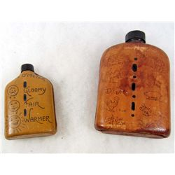 LOT OF 2 SMALL LIQUOR FLASKS W/ LEATHER COVERS