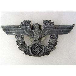 GERMAN NAZI POLICE SWASTIKA EAGLE CAP BADGE